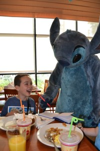My son Todd and Stitch at Paradise Pier hotel, March 2015